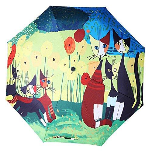 BXT Donna Fashion Art ombrello ombrello 3-Folding unico ombrello da viaggio resistente antivento anti-uv SPF 40+ sole pioggia ombrello Colorful Cat carry-on