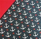 0,5x1,4m Jersey Anker & Herzen dunkelblau melange & 0,5x0,7m Bündchen uni rot Breite 70cm (Schlauchware 2x35cm) Muster-Mix 95% Baumwolle 5% Elastan
