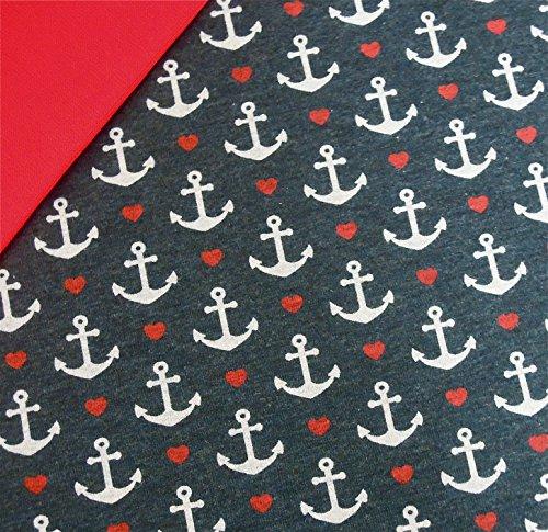 0,5x1,4m Jersey Anker & Herzen dunkelblau melange & 0,5x0,7m Bündchen uni rot Breite 70cm (Schlauchware 2x35cm) Muster-Mix 95% Baumwolle 5% Elastan (Elastan Baumwolle Stoff)