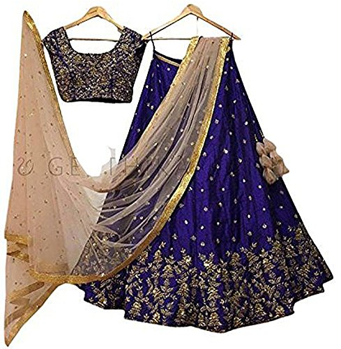 Classyfashion Women's Georgette Lehenga Choli (Multicolor,Free Size, Semi-Stitched)