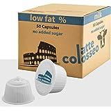 Caffè Colosseo - Magere Melk - 50 Dolce Gusto Compatibel Cups (50 Cups, 50 Porties, Melk met laag vetgehalte, zonder toegevoe