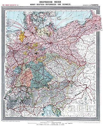 Historische Karte: Deutsches Reich - Deutschland, nebst Deutsch-Österreich und der Schweiz, um 1903 (plano)
