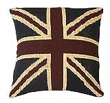 Homescapes Union Jack Kissen Bezug 45 x 45 cm Kissenhülle Britische Flagge England Deko Kissenbezug 100% Baumwolle grob gewebt