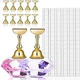 EBANKU 2 sets Nageltips Standhouders met 102 stks Witte Herbruikbare Zelfklevende Putty Clay, Oefen Kristallen Stand Base Dis