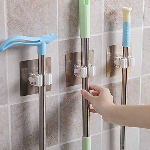 Besen Unterstützung Wand Tools mit Haken Unterstützung Gewicht bis zu 10-15kg Organizer mit Clip Spring Organisieren Ihre DIY Reinigung Gartengeräte