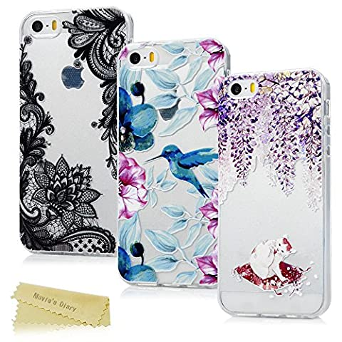 [3-Pack] Mavis's Diary iPhone SE Case ,iPhone 5S Case ,iPhone 5 Case - [3D Relief Prints] 3 Pieces Clear Soft Flexible TPU Silicone Rubber Skin Bumper Covers Shock-Absorption Slim Fit Transparent Protective Cases Pack of 3 - Lace Flower/ Flower Bird/ White