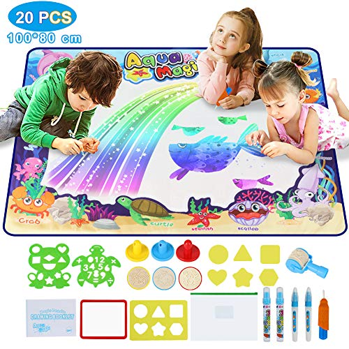 Wasser Doodle Matte , Aqua Doodle Matte 100 * 80cm Wasser Zeichnen Matte mit 20 Zubehör ,Wiederverwendbare Kinder Zeichnung Mat,Perfektes Geburtstag,Weihnachten Geschenk Spielzeug für Baby, Kinder