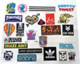 25 SKATEBOARD STICKER PACK - TOP BRANDS BARGAIN! - ALL STICKERS SHOWN INCLUDED! Spitfire Wheels, Thrasher Magazine, Santa Cruz, Powell Peralta, Zoo York, Baker Skateboards, Adidas,