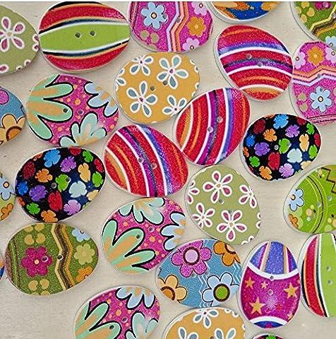Yeah67886Creative Fleur Imprimé œufs de Pâques Motif 2trous Boutons en