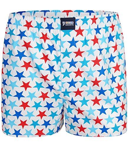 "Happy Shorts Boxershorts Herren/Web-Boxer mit Jersey-Innenslip – Modell: ""Stars"" (XXL)"