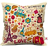 Indigifts Micro Satin Printed Cushion Cover with Filler (Beige, 12x12-inch)