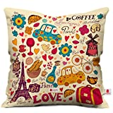 #10: Indigifts Printed Love Paris Cushion Cover With Filler (12 X 12 In)(Beige)
