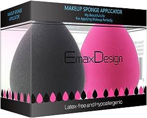 emaxdesign 2Stück Makeup Blender Schwamm Set, Foundation Blending Blush Concealer Eye Face Powder Cream Cosmetics Make-up sponges. latexfrei, antiallergen und geruchsfrei.