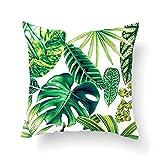 Vevice 1pièce Tropical Feuilles Vertes Taie d'oreiller Coussin Décoratif Cases carré...