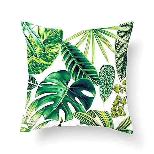Vevice 1pièce Tropical Feuilles Vertes Taie d'oreiller Coussin Décoratif Cases carré Canapé/canapé/intérieur...