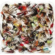 Mixed Assorted Trucha pesca moscas húmedas, seco, ninfas y Buzzers–tamaño de 8, 10, 12, 14, 16o 18, Qty del 10, 25, 50, 100, (100x Flies, Mixed Sizes 8-18)