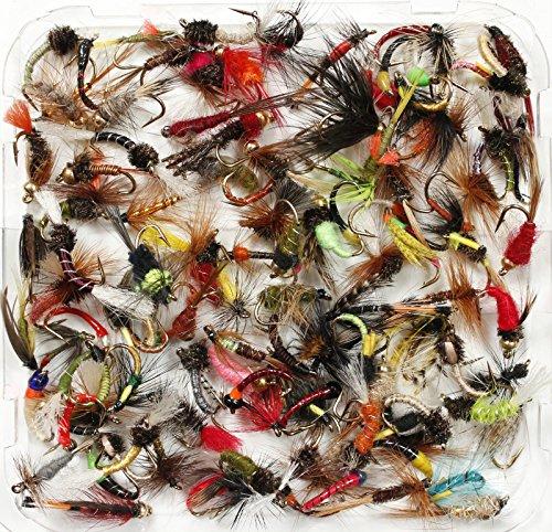 Assortiti pesca alla trota umido, a secco, ninfe & Buzzer, misura da 8, 10, 12, 14, 16o 18, confezione da 10, 25, 50, 100, (50x Flies, Size 16) - Sea Trout Fly Fishing