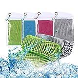 Ulikey 4 Pezzi Asciugamano Raffreddamento, Raffreddamento Asciugamani Microfibra, Asciugamano Rinfrescante, Asciugamano Ghiaccio, Sportivo Asciugatura Rapida Gym Towel per Yoga, Golf, Palestra