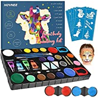 HOVNEE Face Paint Kit Party Black Light Body Paint for Body and Facepainting Professional Brush Set, Rainbow Makeup