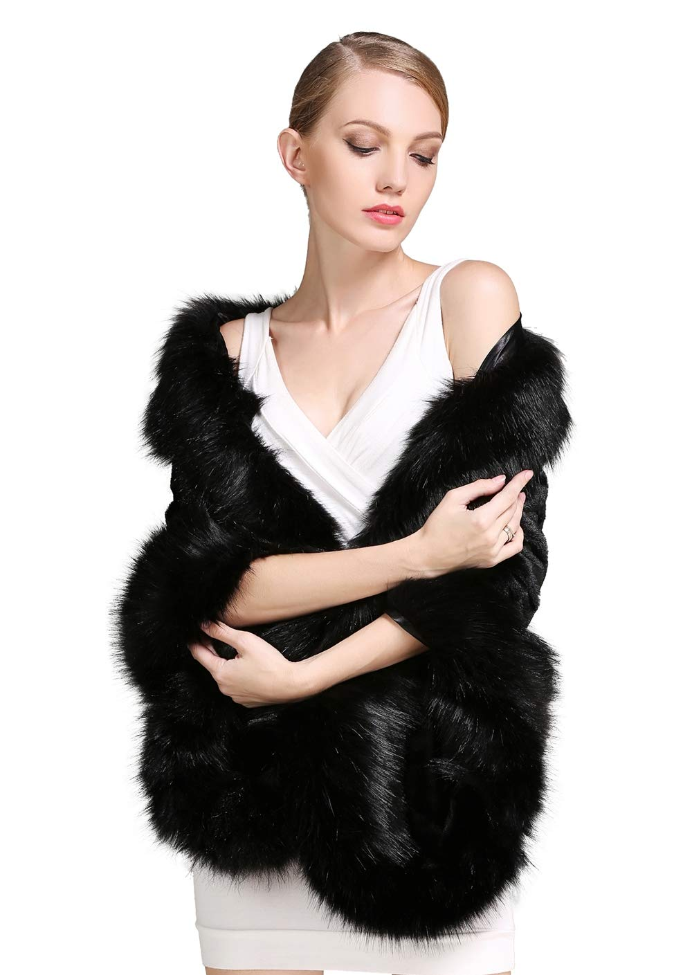 BEAUTELICATE Estola Chal Pelo Mujer Boleros Marfil Negro para Fiesta Bodas Novia Invierno Vestido de Noche