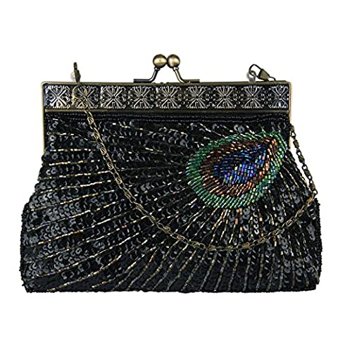 Ecosusi Antique Beaded Sequin Turquoise Sunburst Clutch Evening Handbag Purse (black)