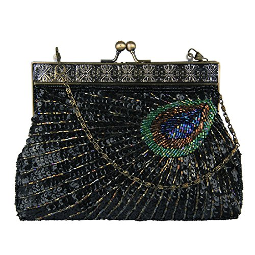 ECOSUSI Abendtasche Pailletten Clutch Damen Abend Handtasche Elegant Handtaschen Schwarz (Handtasche Schwarze Tasche Abend)