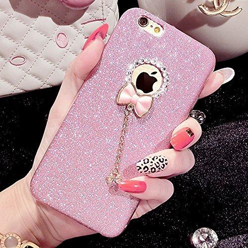iPhone 5/5S Fall, unnfiko Beauty Luxus Diamant Glitzer Gummi Bling Soft glänzend Sparkling mit Crystal Strass Schleife Schutzhülle für iPhone 55S 5G, Rose (Bling Case Iphone 5s Lifeproof)
