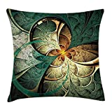 BUZRL NEW case Fractal Throw Pillow Cushion Cover, Computer Art Featured Surreal Flowers Dreamy Imaginary Creative Concept, Decorative Square Accent Pillow Case, 18 X 18 inches, Jade Green Orange