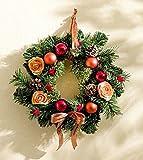 Weihnachtszeit - Weihnachten - Kranz - Adventskranz - Weihnachtsdeko - Weihnachtskranz - Tischdeko - Wanddeko - Dekoration - Kunststoff - Rosen - Kugel - Tannenzapfen - lachsfarbenen - ∅ 30 cm