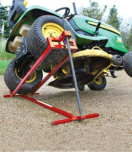 Levantador de césped | Siéntate en la cortadora de césped Jack | Elevador telescópico del cortacésped del jardín | Dispositivo de elevación 400KG para tractor cortacésped | Color rojo | Versión telescópica para ahorrar 30% de almacenamiento
