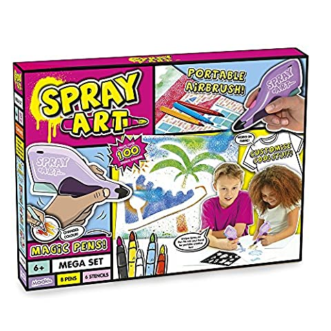 Spray Art Mega Set | Portable Airbrush Kids Children Art Craft Pack Magic Pens color 8 Pens and 6 Stencils