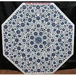 """Lujo y Caro obra maestra 36""""OCTAGON mármol blanco mesa de comedor superior"""