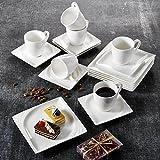 Malacasa, Serie Monica, 18 tlg. Set Cremeweiß Porzellan Kaffeeservice Geschirrset 6 Stück Kuchenteller, 6 Stück 230ml Kaffeetasse mit 6 Stück Untertasse für 6 Personen