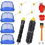 KEEPOW 12 Stück Ersatzteile für iRobot Roomba 600 Serie 620 650 651 653 655 660 671 680 690 (4 Seitenbürsten, 4 Hepa Filter, 1 Flexible Schlagbürste, 1 Borstenbürste, 2 Reinigungswerkzeug)