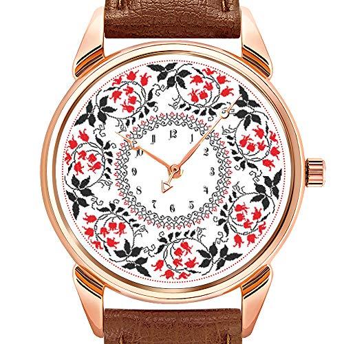 Herrenuhren Mode Quarzuhr Business wasserdicht leuchtende Uhr Männer braun Leder Uhr rot Mai Lilie Ring personalisierte Monogramm erste Armbanduhr Mais Lilie