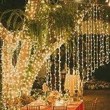 Tenda Luminosa Catena Luminosa 3m x 3m 300 LED Bianco Caldo Luci Natalizie per Interno & Esterno
