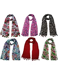 FusFus Women's Stoles (F096 _multicoloured_ Free Size) - Set Of 6