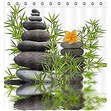 LB Tejido de poliéster Impresión 3D impermeable a prueba de moho Cortinas de baño Buddah Buddhism Budista spa yoga zen D Cortinas Para la decoración del cuarto de baño Con 12 ganchos