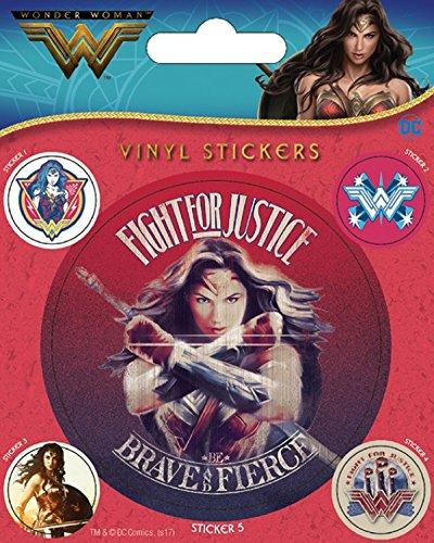 1art1 107441 Wonder Woman - Fight for Justice Poster-Sticker Tattoo Aufkleber 12 x 10 cm