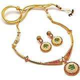 Jewar Mandi Necklace Indian Mughal Nizam Emerald Ruby Jade Gemstone New Pearl Chik Set 6450 for Womens Girls