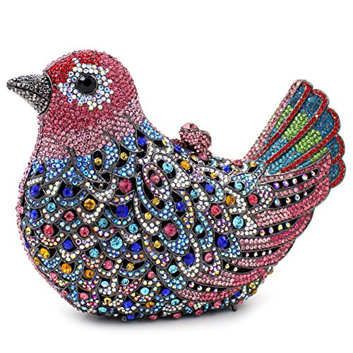 Santimon Donna Pochette Borsa Uccello Custodia Rigida Lusso Borsellini Diamante Cristallo Borse Da Seta Con Tracolla Amovibile e Pacco Regalo 15 Colori rosa01