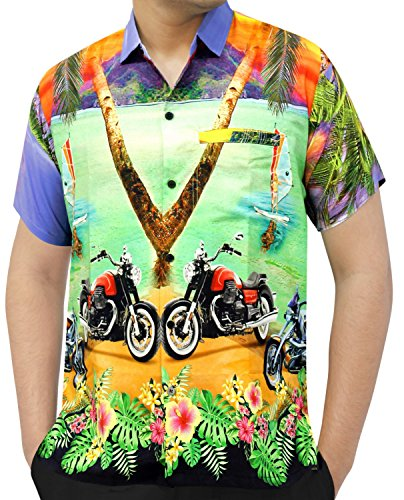 La-Leela-Shirt-Camisa-Hawaiana-Hombre-XS-5XL-Manga-Corta-Delante-de-Bolsillo-Impresin-Hawaiana-Casual-Regular-Fit-Camisa-de-Hawaii-Violet-DRT050-M