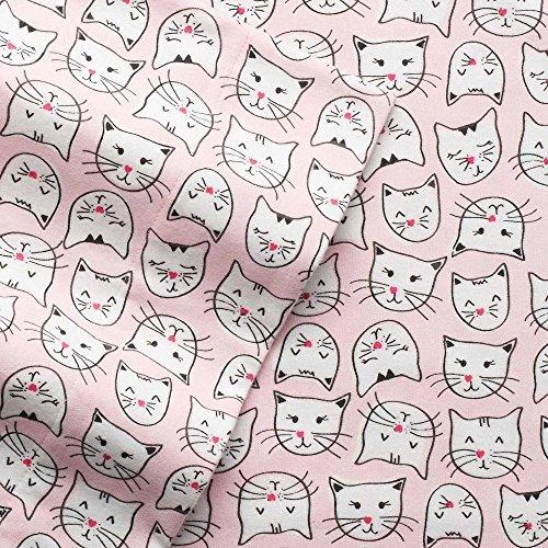 Twin Flanell-Bettlaken-Set-100% Baumwolle Tief Pocket Schwergewicht Flanell Blatt, rosa Katzen -