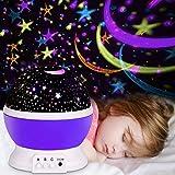 Projektor Lampe, Omitium LED Sternenhimmel Projektor Sternenlicht Nachtlicht Lampe Projektionslampe Rotierende romantische Schlummerleuchten Dekorative Nachtlicht Projektor für Schlafzimmer - Lila
