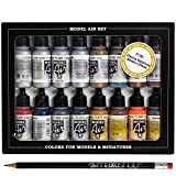 Airbrush Farben 16 x 17 ml Vallejo Model Air Metallic Farben-Set