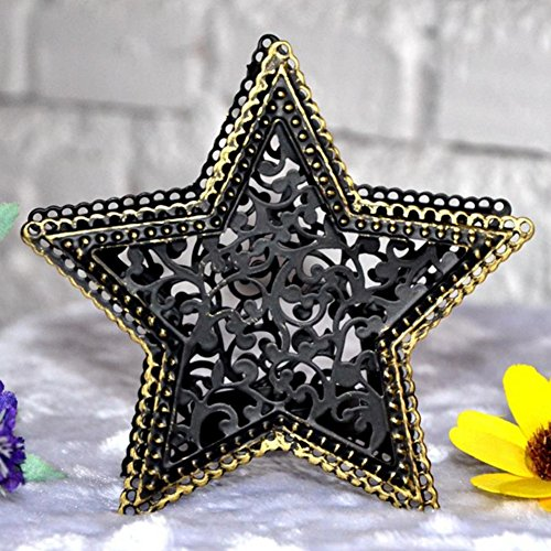 her Kerzenhalter mit hohlem Stern, kreativer Kerzenhalter, Metall, Teelichthalter, Laterne, Tischdekoration, Tischdekoration ()