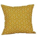 Kissenbezüge 45cm*45cm Qualitäts Kissenhüllen in Baumwolle Leinen mit Geometrischen Mustern für Sofa Auto Terrasse Zierkissenbezüge Serie Gelb und Weiß (F)