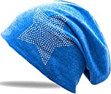 Jersey Baumwolle Elastisches Long Slouch Beanie Unisex Herren Damen mit Strass Stern Steinen Mütze Heather in 35 (2) (Jeans-Blue)