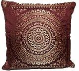 Housse de coussin Banarsi aux motifs indiens avec mandala 40,5x 40,5cm