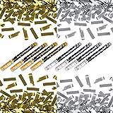 XXXL (80 cm) 4x Silber- & 4x Goldregen im 8er Set - Kleenes Traumhandel - Konfettishooter Partykanone Partypopper Streamer